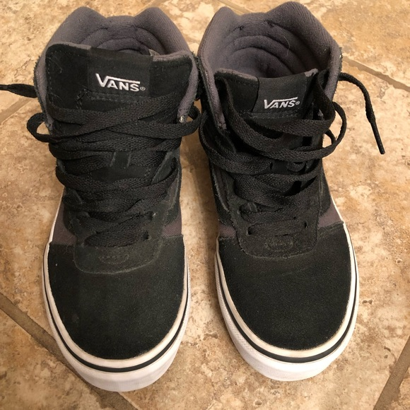 e7b7cd37842a2e Vans Sk8 Hi Slim Gray Black Sneakers Youth Size 2
